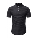 Mens Basic Solid Color Short Sleeve Stand Collar Button up Curved Hem Slim Fit Henley Shirt