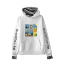 Letter Oil Painting Sudoku Graphic Striped Panel Long Sleeve Kangaroo Pocket Fake Two Piece Loose Fit Trendy Hoodie for Men