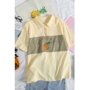 Girls Japanese Letter Orange Graphic Short Sleeve Point Collar Button up Pretty Loose Fit Polo Shirt