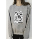 Casual Sherpa Lined Comic Letter Graphic Long Sleeve Crew Neck Loose Fit Pullover Sweatshirt in Gray