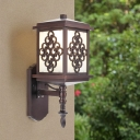 Coffee Rectangle Wall Sconce Light Retro Opal Glass 1-Light Outdoor Wall Lamp Fixture
