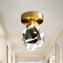 Faceted Orb Mini Foyer Ceiling Light Simplicity Crystal Gold LED Flush Mount Fixture