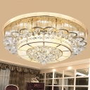 LED Waveform Flush Mount Light Modern Gold Crystal Ball Flushmount Lighting for Living Room, 24