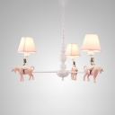 Resin Girl & Horse Chandelier Child Bedroom 3/5 Lights Cute Pendant Light with Tapered Shade in Pink