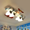 Wood Plane Semi Mount Lighting Kids Style 4-Head Blue Ceiling Flush Light with Cream Glass Shade