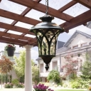Black 1-Light Ceiling Pendant Cottage Clear Dimpled Glass Urn-Shaped Hanging Light for Outdoor