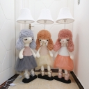 Cartoon 1 Bulb Standing Light Grey/Pink/Brown Bell Floor Lamp with Fabric Shade and Animal Base for Kids Bedroom