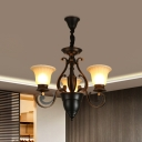 Frosted Glass Black Chandelier Bell 3/5 Heads Vintage Hanging Light Fixture for Dining Room