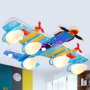 Metal Airplane Semi Flush Light Cartoon 4 Bulbs Blue Flush Mount Lighting for Kids Bedroom