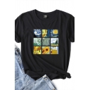 Sudoku Oil Painting Printed Short Sleeve Crew Neck Loose Fit Chic Tee for Girls