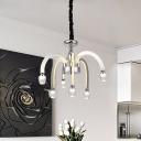 Chrome LED Chandelier Lamp Minimalism Crystal Block Starburst Down Lighting Pendant, 21