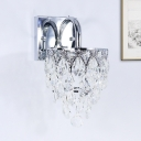 LED Layered Sconce Lighting Simple Chrome Faceted Crystal Wall Mounted Light Fixture