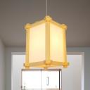 Beige Rectangle Ceiling Hanging Lantern Japanese Style 1-Light Wood Pendant Light for Sushi House