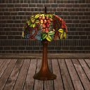 Stained Glass Fruit Patterned Night Lamp Victorian 1 Light Coffee Finish Table Lighting with Bowl Shade