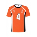 Orange Trendy Number 4 Footprint Graphic Contrasted Short Sleeve Crew Neck Regular Fitted T Shirt for Guys