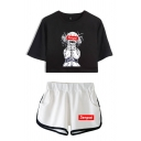Street Cartoon Girl Printed Short Sleeve Crew Neck Loose Crop Tee & Elastic Waist Letter Print Contrasted Shorts Set for Ladies