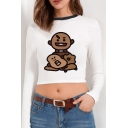 Pretty Womens Cartoon Patterned Long Sleeve Contrasted Round Neck Slim Fit Cropped Tee Top