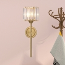Crystal Prism Drum Wall Lamp Mid Century 1 Bulb Living Room Sconce with Gold Pencil Arm