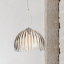 Dome Hanging Light Fixture Modernist Opal Glass 1-Bulb Kitchen Drop Pendant in Grey with Extra Cage Guard
