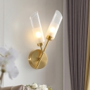 Postmodern 2-Head Wall Light Kit Brass Angle-Cut Tube Sconce Lighting with Clear Glass Shade