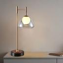 Orb Milky Glass Night Light Postmodernism Single Brass Table Lighting with Exterior Triangle Smoke/Cognac Glass Shade