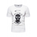 Letter No Face No Case Cartoon Graphic Short Sleeve Crew Neck Slim Fit White Fashion Tee Top for Men