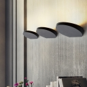 Simple Disc Wall Washer Sconce Aluminum Living Room LED Wall Mounted Light in Black/Gold/White