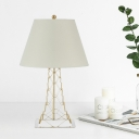 Tapered Nightstand Lamp Modern Fabric 1 Head White Table Lighting with Open Tower Base