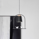 Macaron Tapered Shade Pendant Light Kit Iron Single Restaurant Down Lighting in White/Grey/Pink with Arched Frame and Bird Decor