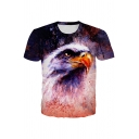 3D Parrot Printed Short Sleeve Crew Neck Regular Fitted Fashionable T Shirt