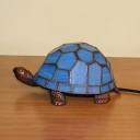 Turtle Shaped Stained Glass Desk Light Baroque Style 1-Light Blue Table Lamp for Living Room