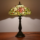 Dome Shade Table Lamp 1 Light Cut Glass Mediterranean Rose Patterned Nightstand Light in Bronze