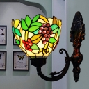 1 Head Grapevine Sconce Light Tiffany Green/Red Stained Glass Wall Mount Lighting Fixture