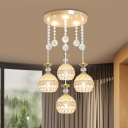 Crystal Globe Cluster Pendant Simplicity 4 Heads Suspension Lighting Fixture in Gold with Round Canopy