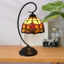 1-Head Desk Light Tiffany Dome Shaped Stained Glass Rose Patterned Table Lighting in Red/Pink/Brown for Bedroom