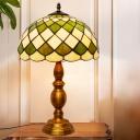 Crisscrossed Dome Shape Night Lamp 1 Head Green-White Glass Baroque Table Lighting