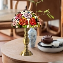 Brushed Brass 1-Light Table Lamp Tiffany Stained Glass Rosebush Night Light for Parlor