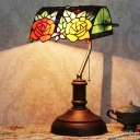 Dark Brown 1 Head Bankers Table Lamp Tiffany Stained Art Glass Rose Pattern Night Stand Light