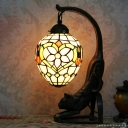 Bronze Cat Table Lamp Baroque 1 Head Resin Night Light with Floral Stained Glass Shade