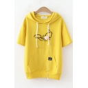 Fashion Womens Rabbit Letter Embroidered Short Sleeve Hooded Drawstring Kangaroo Pocket Loose T Shirt