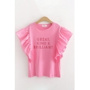 Trendy Womens Pink Letter Great Kind Brilliant Printed Ruffled Sleeveless Crew Neck Relaxed Fit T Shirt