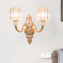 Curved Arm Crystal Wall Sconce Classic 2 Bulbs Corridor Wall Lighting Fixture in Gold