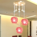 Apple Shape Dining Room Cluster Pendant Red Crystal 3 Heads Contemporary Down Lighting