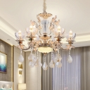 Clear Glass Gold Ceiling Chandelier Candelabra 6-Light Mid-Century Pendant with Crystal Drop