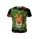 Popular Mens Lion 3D Print Short Sleeve Crew Neck Slim Fit T-shirt in Black in Green