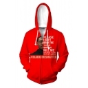 Fashion Letter Please I Can't Breath Graphic Long Sleeve Drawstring Zip up Loose Hoodie for Men