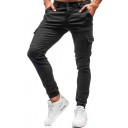 Cool Mens Solid Color Zipper Flap Pocket Cuffed Mid Rise Slim Fit 7/8 Length Cargo Pants in Black