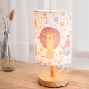 1-Head Child Room Night Light Cartoon Wood Table Lighting with Tree Pattern Cylindrical Fabric Shade