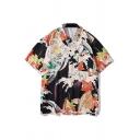 Beach Mens Allover Cartoon Floral Printed Short Sleeve Turn-down Collar Button down Loose Fit Shirt in Black