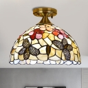 Handcrafted Shell Dome Flush Mount Tiffany 1 Head Brass Close to Ceiling Light with Butterfly Pattern